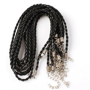 50pcs-Wholesale-Bulk-Black-Leather-Adjustable-Braided-Necklace-Cord-Finding-46cm