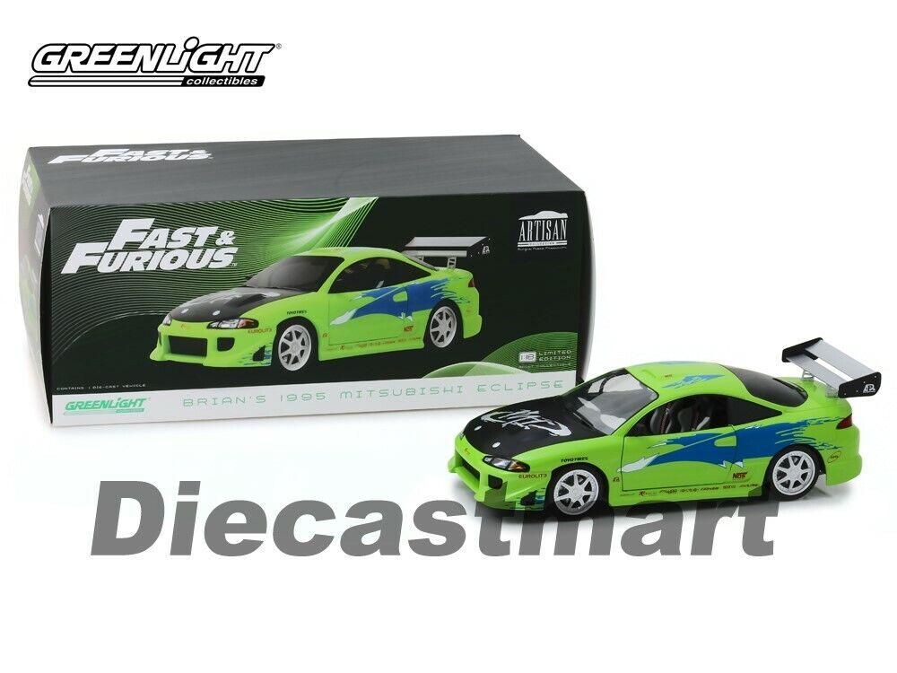 Luz verde 1 18 Fast & Furious de Brian 1995 Mitsubishi Eclipse 19039 Modelo