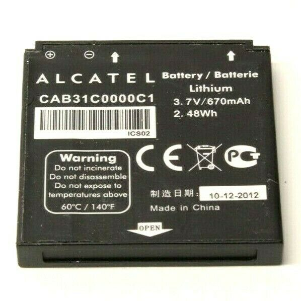 Alcatel CAB31C0000C1 Lithium 3.7V 670mAh Battery GB/T 18287-2000