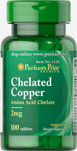 Puritan-039-s-Pride-Copper-Chelate-2-mg-100-Tablets-free-shipping