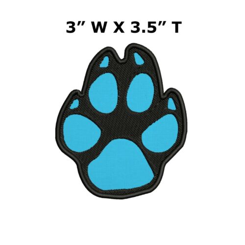 Cat Paw Blue Logo I Love My Cats Animal Paw Print Embroidery Patch Iron Sew-On
