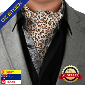 White-Brown-Long-Ascot-Leopard-Fashion-Cotton-Cravats-By-Dan-Smith-C-C-AQ-I-050