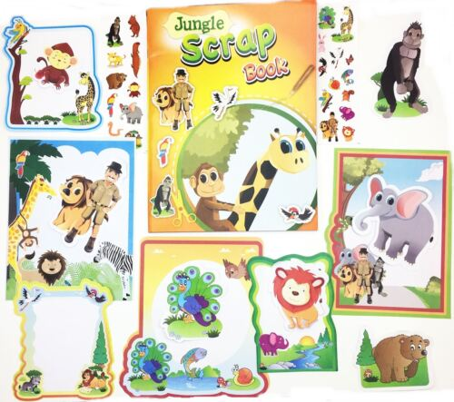 Scrap Book Set Jungle Picture Album Creative Craft Stickers Frame Kids Party Bag