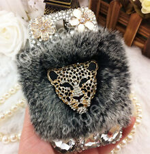 Hot Luxury Bling Diamond Pearl Flower Furry Rabbit Fur Case Cover for Cell Phone