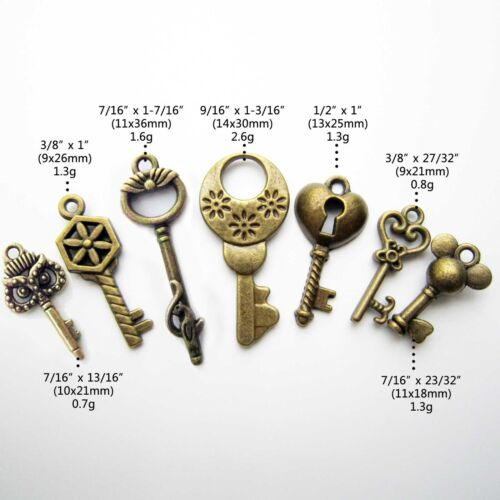 18x Antique Vtg Old Look Decor Skeleton Key Pendant Bow Steampunk Charms Jewelry