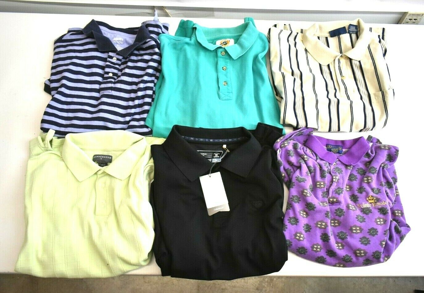 Lot of 6 Men's XL Short Sleeve Polo Shirts Various Brands & colors