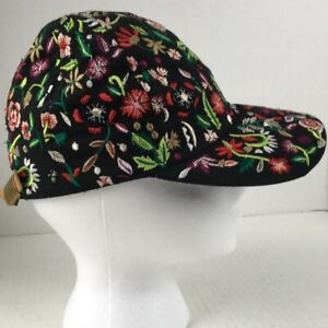 2201f54a0 Details about ZARA BLACK EMBROIDERED FLOWER FLORAL BASEBALL CAP RARE