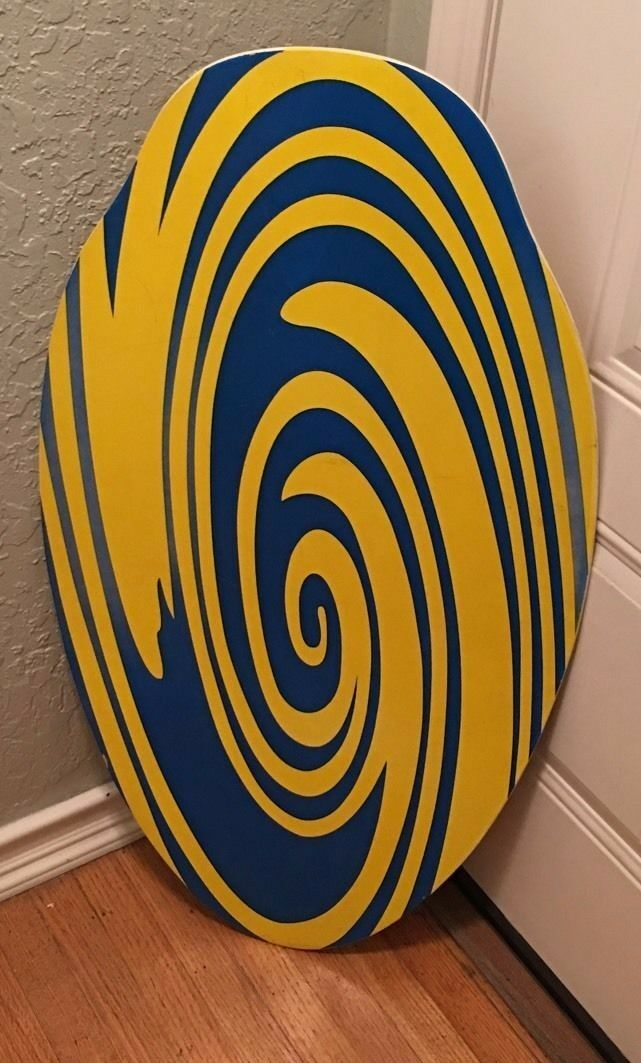37  X 19 3 7  bluee Yellow Boogie Board- Signed By LIL MAXO