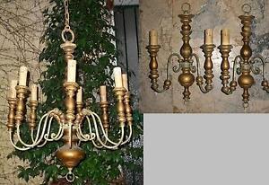 Antico lampadario inizio 900 legno dorato ferro curvato 2