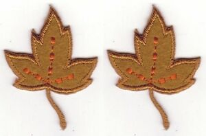 """1 7/8"""" Tan Maple Autumn Fall Leaf Leaves embroidery patch"""
