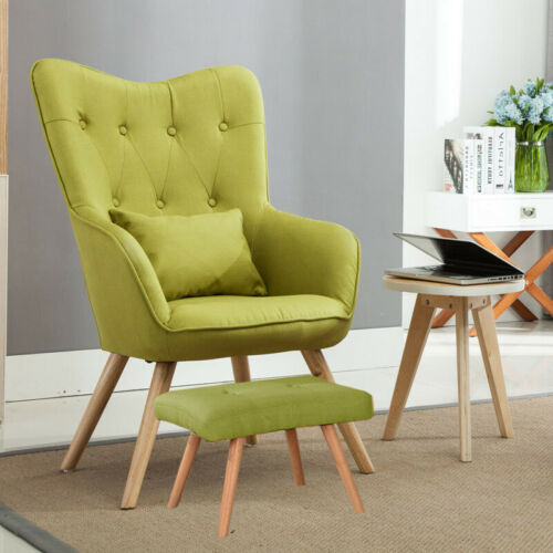 Wing Back Soft Chair Linen Fabric Button Sofa Armchairs W// Footstool Home Deco