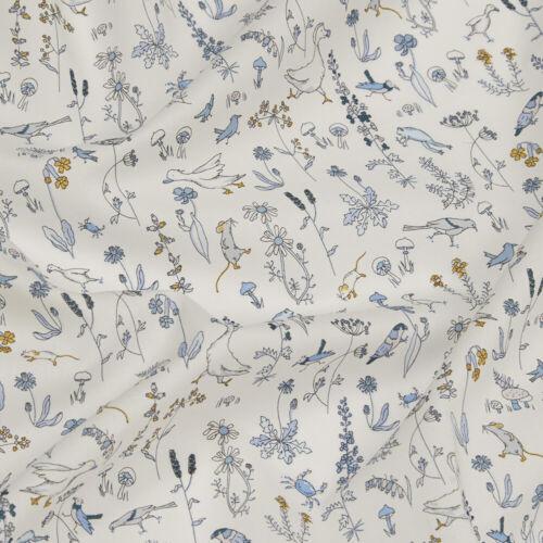 Liberty ~ Theo Tela Azul//Acolchar confección bebé vivero Ratón Pájaro Floral