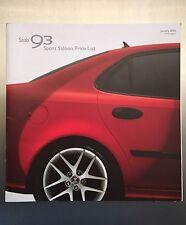 Saab 93 Sport Saloon Price List Brochure '05 - FREE P&P