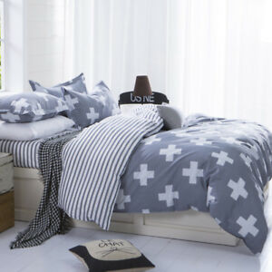 Cross Single Double Queen Size Bed Quilt Duvet Cover Set Grey Pillow Cases 1x King Fitted(180x200cm)