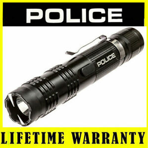 POLICE-M12-78-Billion-Metal-Stun-Gun-Flashlight-Rechargeable-Taser-Case-Black