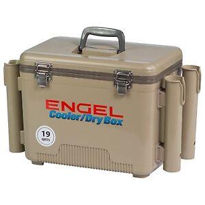 Engel Coolers 19 Quart Cooler Dry Box Tan W 4 Rod Holders Ebay