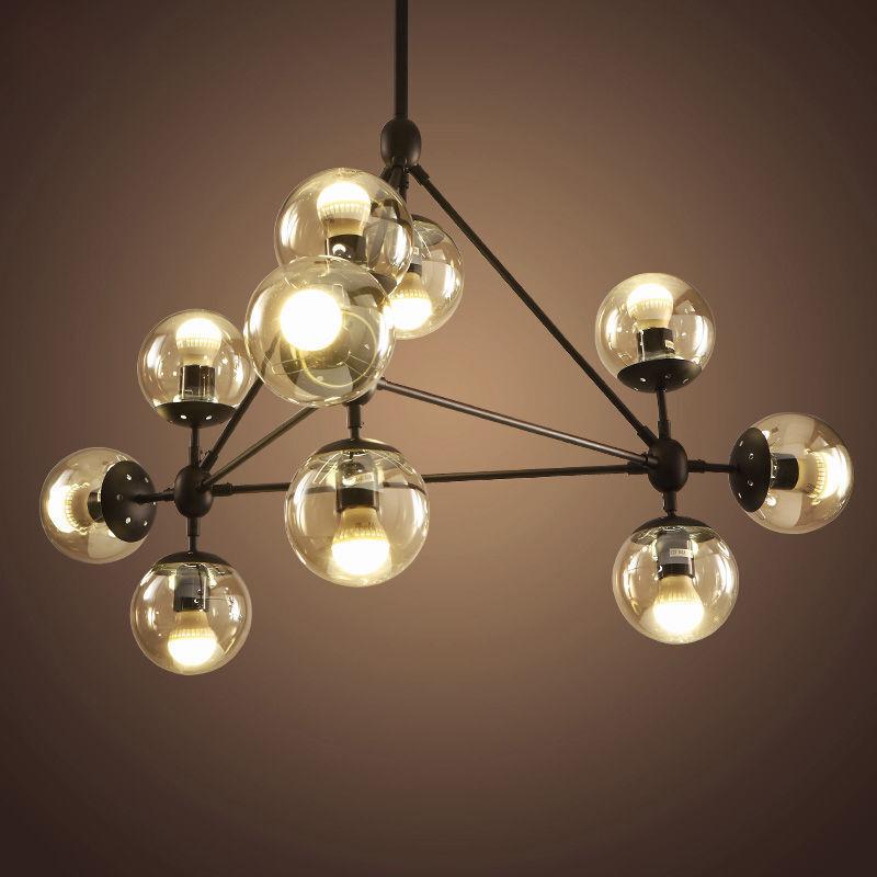 10 Light MODO LED Glass Ball Chandelier Ceiling Light Hall Lobby Lamp