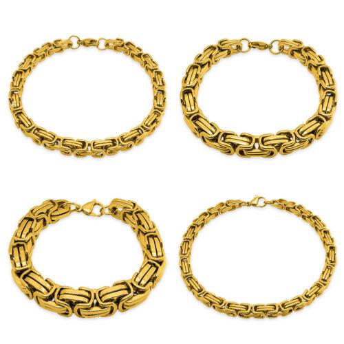 Armband Edelstahl Königskette Panzerkette Armkette gold schwarz silber Kette