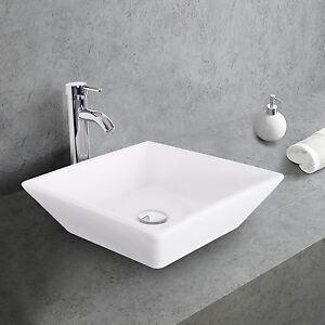 Square-Ceramic-Bathroom-Vessel-Sink-W-Faucet-Chrome-White-Bowl-Combo-Drain-Hose