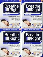 4 Pack Breathe Right, Original Nasal Strips 30 Large Tan Strips on sale