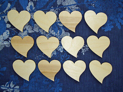 Heart Shape Unfinished Wood Cut Out 12 PCS # HEA-064 Artistic Craft Supply