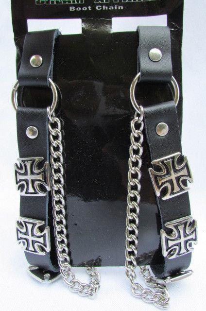 Biker Men Boot Silver Chains Pair Leather Straps Motorcycle Bracelet Iron Cross