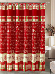 Image Is Loading Christmas Holiday Plaid Snowflake Shower Curtain And 12