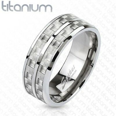 Men's Solid Titanium Wedding Engagement Band with White Carbon Fiber Inlay Ring