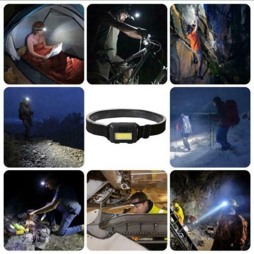 Mini LED Headlight Bright Flashlight Head Torch Lamp Outdoor Night Black Fi Z7X8
