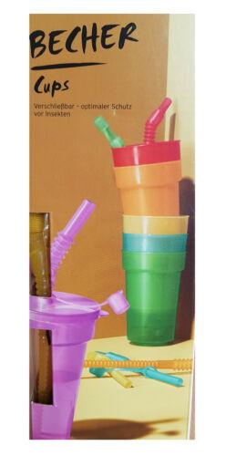 TCM Tchibo 6 X Gobelet en plastique gobelet en plastique Gobelet avec paille /& Couvercle