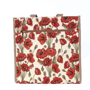 Signare Einkaufstasche Blumen Mohnblumen Shopper Gobelin Einkaufsbeutel Tapestry
