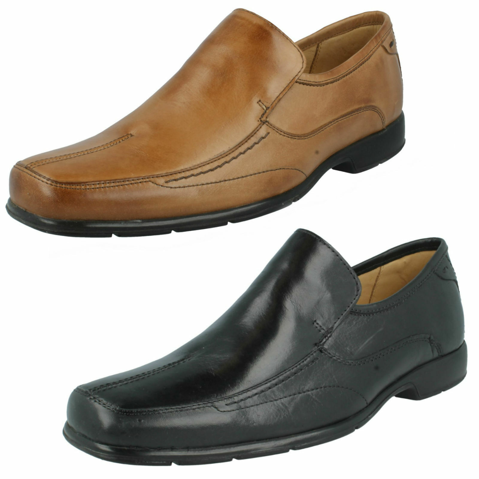 Mens PETROPOLIS Black/Tan leather slip on shoes  by ANATOMIC&CO   £79.00