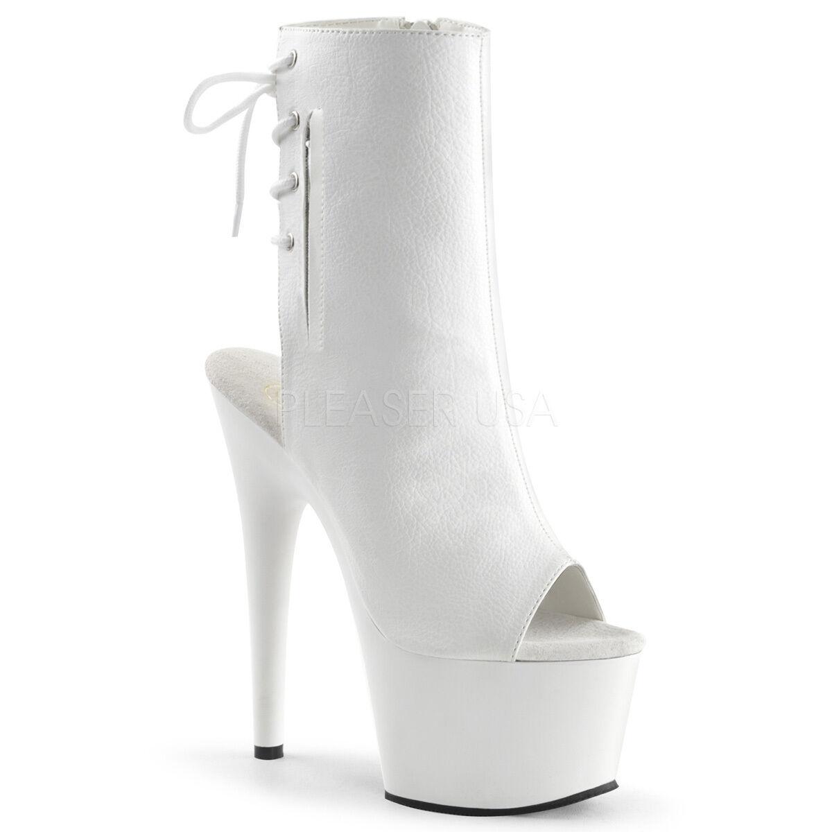 Descuento de liquidación PLEASER - Adore-1018 Peep-Toe Platform Ankle Boots With Side Zips & Back Laces