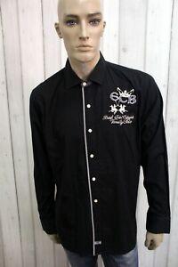 LA-MARTINA-Camicia-Taglia-XL-Nero-Cotone-Uomo-Shirt-Chemise-Casual-Manica-Lunga