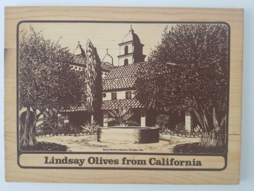 "Vintage Lindsay Olives From California Wooden box top 12/""x9/"" Santa Barbara."