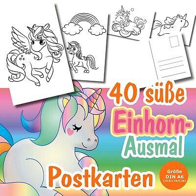40 Diy Einhorn Postkarten Zum Ausmalen Fur Kinder Ab 3 Vorschule Suss Xxl Ebay