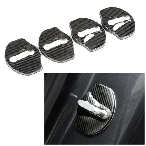 Door Latch Lock Cover Protective Fit Tesla Model 3 Stainless Steel Carbon Fiber