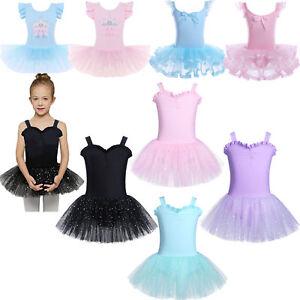 Girl-Gymnastics-Ballet-Dress-Toddler-Kids-Leotard-Tutu-Skirt-Dance-wear-Costume