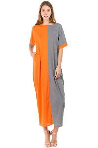 Details about Women\'s Plus Size Maxi Color Block Baggy T-shirt Dress Two  Tone Dress Cotton