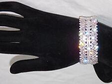 Silver Clear Rhinestone Crystal Cuff Bridal Wedding Bracelet