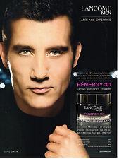 PUBLICITE ADVERTISING 114  2008  LANCOME FOR MEN   cosmétiques homme CLIVE OWEN