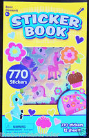 Awesome 770pc Girly Sticker Book Pony Cupcakes Alphabet Hearts Flowers Numbers +