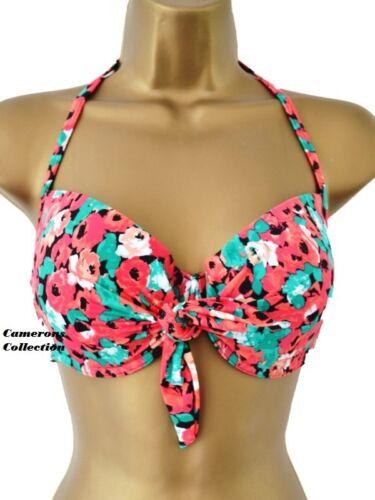 Ladies Poppy Moulded Cups Tie Halter Bikini TOP  sz  UK   6  8 10 12