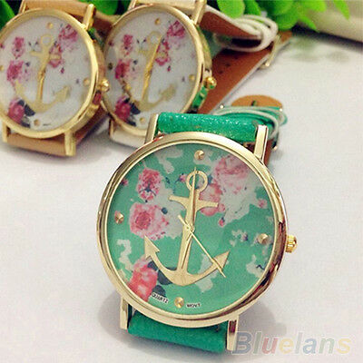 Women's New Fashion Faux Leather Floral Printed Anchor Quartz Dress Wrist Watch