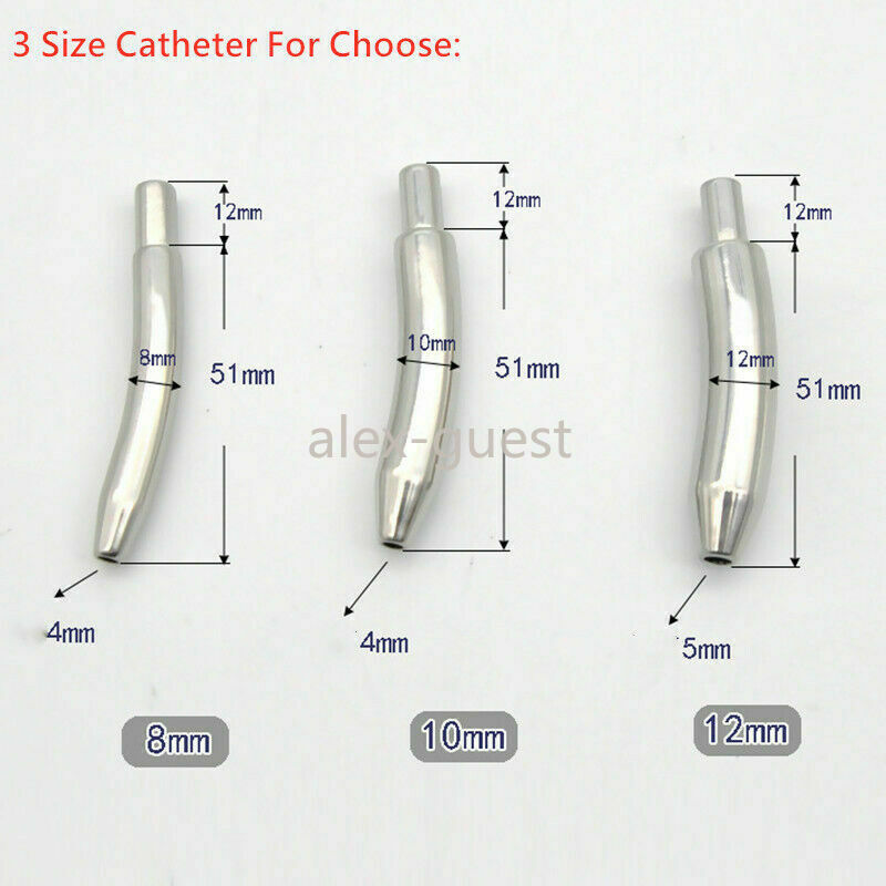 Male Stainless Steel Rings Chastity Cage Belt Detachable Urethra Tube Device new eBay