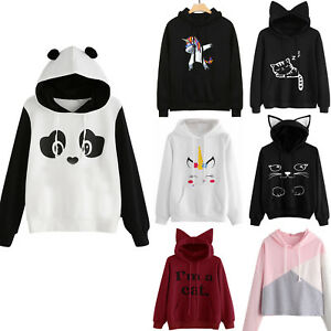 Image is loading Womens-Cat-Ear-Panda-Hoodie-Sweatshirt-Hooded-Pullover- 08ea81a0a3