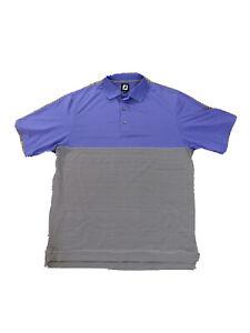 Mens-Medium-Footjoy-Polo-Short-Sleeve-Purple-Black-And-White-Stripes-Glenmoor-CC