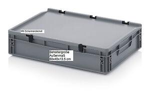 stapelkisten mit scharnier deckel 60x40x13 5 cm stapelbar kunststoff stapelboxen ebay