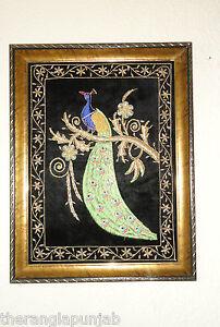 Bild-Wandbild-Dekorativ-Bestickt-Pfau-Handarbeit-Orientalisch-Blau-Gruen-Wohnen