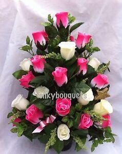 Grave pot silk flower arrangement artificial headstone flowers flat image is loading grave pot silk flower arrangement artificial headstone flowers mightylinksfo